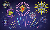 Cute Colorful fireworks with solid and flat color style. Vector illustration.