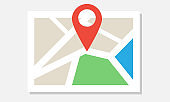 Flat colorful map icon with pin marker. Vector illustration.