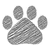 Hand drawn doodle style cat footprint. Vector illustration.