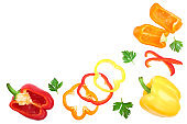yellow orange and red sweet bell pepper isolated on white background with copy space for your text. Top view. Flat lay