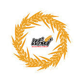 Wheat logo design with circle or round shape geometrical style. Flat design vector illustration.