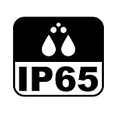 IP65 protection certificate standard icon. Water and dust or solids resistant protected symbol. Vector illustration.