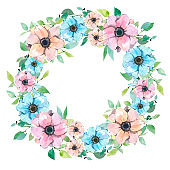Watercolor wreath with flowers.