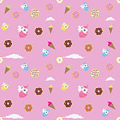 Unicorn, donut, ice-cream and other confetti elements seamless. Vector illustration.