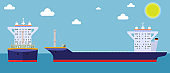 Empty Cargo Container ship with front and side view. Freight Transportation concept. Vector illustration.