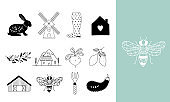 Hand drawn Farm icon set in doodle style
