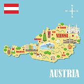 Stylized map of Austria