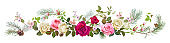 Panoramic view with white, pink, red roses, spring blossom, pine branches, cones. Horizontal border for Christmas: flowers, buds, leaves on white background, digital draw, watercolor style, vector