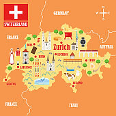 Map of Switzerland with landmarks