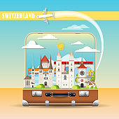Cityscape with swiss landmarks in suitcase