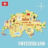 Map of Switzerland with landmarks