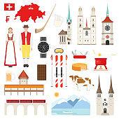 Switzerland flat symbols collection