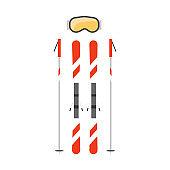 Ski, poles flat vector illustration