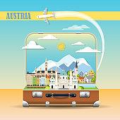 Cityscape with austrian landmarks