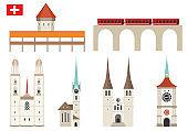Set of Switzerland landmark icons in flat style
