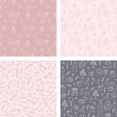 Doodle wedding seamless pattern with decorative elements