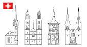 Set of Switzerland landmark icons in outline style