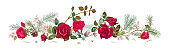 Panoramic view with red, pink roses, spring blossom, pine branches, cones. Horizontal border for Christmas: flowers, buds, leaves on white background, digital draw, watercolor style, vector
