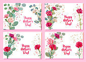 Set horizontal Mother's Day cards with carnation: red, pink, white flowers, twigs gypsophile, leaves eucalyptus. Templates for design, vintage botanical illustration in watercolor style, vector