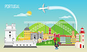 Portugal background with national landmark icons in flat style