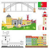 Portugal set of landmark icons in flat style