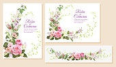 Set wedding invitation cards. Horizontal, vertical, panoramic templates with pink roses flowers, spring blossom. Illustration in watercolor vintage style, frames for design, vector