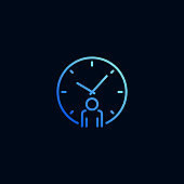 Business man and clock line icon. Vector illustration in linear style.