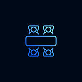 Business meeting line icon. Vector illustration in linear style.