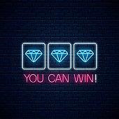 You can win - glowing neon motivation phrase with three diamonds on slot machine. Slot machine combination with diamond