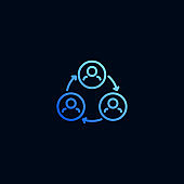 Teamwork line icon. Vector illustration in linear style.
