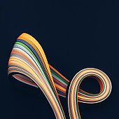 Macro photo of abstract bright wavy lines on black background. Abstract modern background.