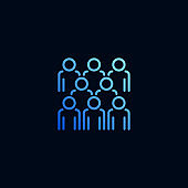 Group of people line icon. Vector illustration in linear style.