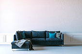 3d render of beautiful interior render with sofa and white wall