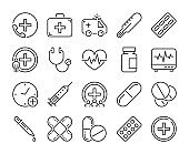 Medical icon. Medicine and Health line icons set. Vector illustration.
