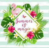 Summer background with flamingo