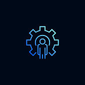 Business man and cog, gear line icon. Vector illustration in linear style.