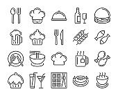 Food and drinks icon. Restaurant line icons set. Editable stroke, 64x64 Pixel perfect.