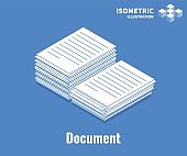 Document icon. Pile of documents, stack of business paper. Vector 3D illustration isolated on blue background.