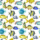Seamless pattern with watercolor fish surgeon, goldfishes and other oceanic fishes, hand painted on a white background
