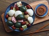 Korean traditional sweets and cookies, Songpyeon, Honey-filledRice Cake, Sesame glutinous rice cake, Gangjeong
