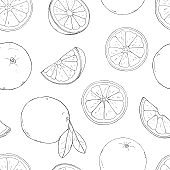 Seamless pattern with oranges. Drawing with hands. Colorless vector illustration in sketch style.