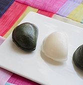 Korean food Songpyeon, half-moon-shaped rice cake