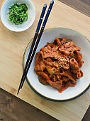 Korean food Jeyuk bokkeum, stir-fried spicy pork