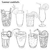 Set of refreshing summer drinks. Silhouettes of different cocktails and juices in glass cups.