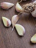 Korean food ingredients Fresh organic garlic, Wood board and garlic