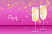 Pink background with glasses of sparkling wine and golden confetti