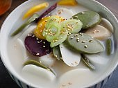 Korean food rice cake soup, tteokguk, SlicedRice CakeSoup