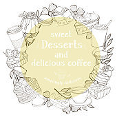 Round frame with desserts for your text. Monochrome silhouettes of sweets and desserts.