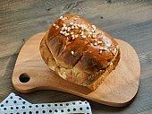 Blueberry bread on wooden board