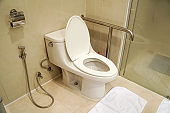 restroom bathroom shower toilet at the hospital